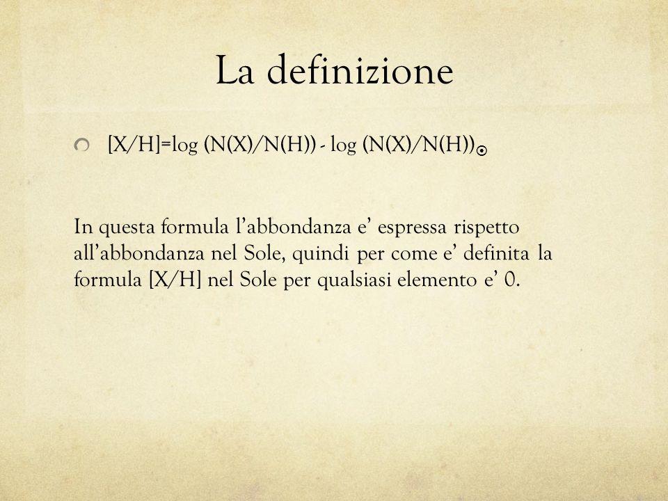 La definizione [X/H]=log (N(X)/N(H)) - log (N(X)/N(H))